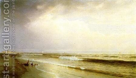Seascape with Distant Lighthouse, Atlantic City, New Jersey by William Trost Richards - Reproduction Oil Painting