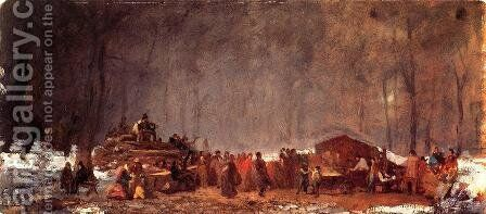 The Maple Sugar Camp: Turning Off by Eastman Johnson - Reproduction Oil Painting