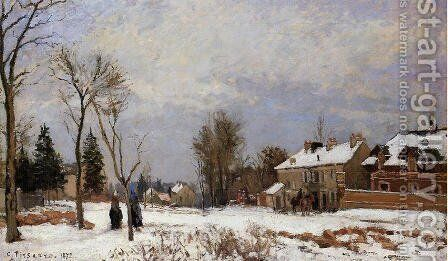 The Road from Versailles to Saint-Germain, Louveciennes. Snow Effect by Camille Pissarro - Reproduction Oil Painting