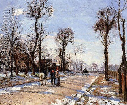 Street: Winter Sunlight and Snow by Camille Pissarro - Reproduction Oil Painting