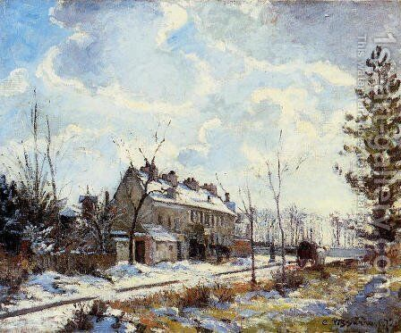 Louveciennes Road: Snow Effect by Camille Pissarro - Reproduction Oil Painting