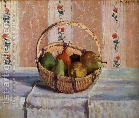 Still Life, Apples and Pears in a Round Basket by Camille Pissarro - Reproduction Oil Painting