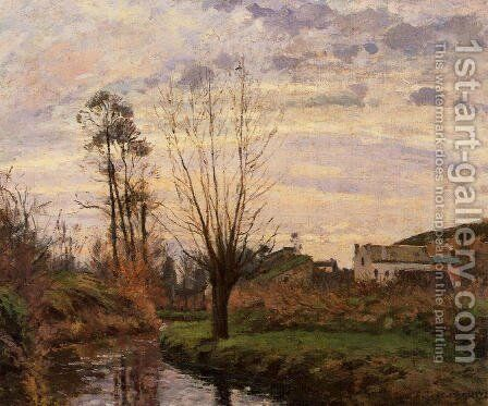 Landscape with Small Stream by Camille Pissarro - Reproduction Oil Painting