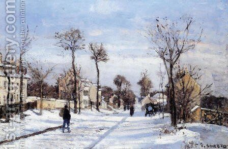 Street in the Snow, Louveciennes by Camille Pissarro - Reproduction Oil Painting