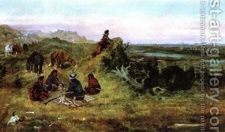 The Piegans Preparing to Steal Horses from the Crows by Charles Marion Russell - Reproduction Oil Painting