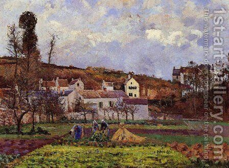 Kitchen Gardens at l'Hermitage, Pontoise by Camille Pissarro - Reproduction Oil Painting