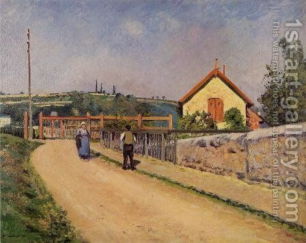 The Railroad Crossing at Les Patis by Camille Pissarro - Reproduction Oil Painting