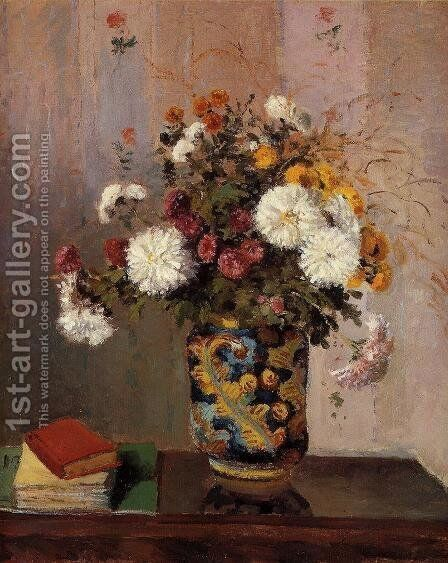 Bouquet of Flowers: Chrysanthemums in a China Vase by Camille Pissarro - Reproduction Oil Painting