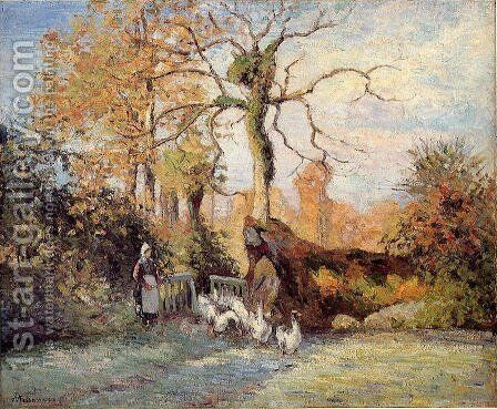 The Goose Girl at Montfoucault, White Frost by Camille Pissarro - Reproduction Oil Painting
