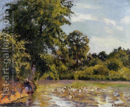 Old Woman with Ducks at Montfoucault by Camille Pissarro - Reproduction Oil Painting