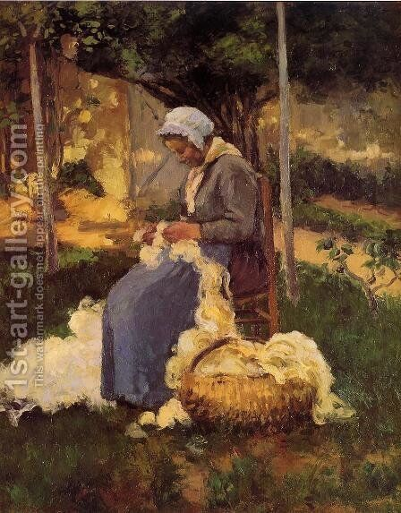 Peasant Woman Carding Wool by Camille Pissarro - Reproduction Oil Painting