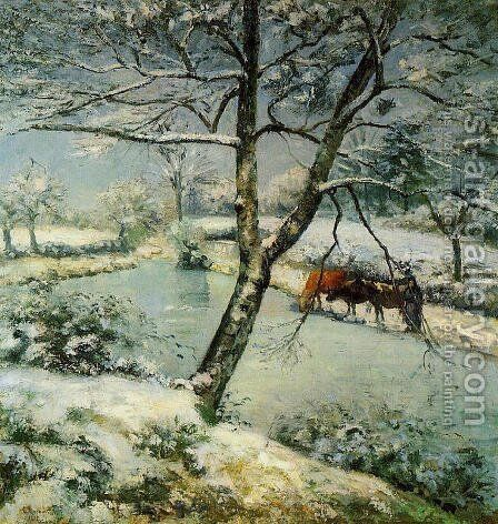 Winter at Montfoucault by Camille Pissarro - Reproduction Oil Painting