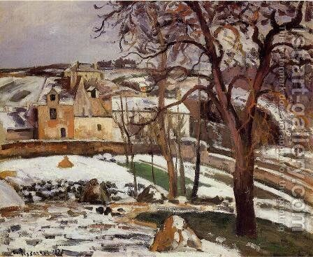 The Effect of Snow at l'Hermitage, Pontoise by Camille Pissarro - Reproduction Oil Painting