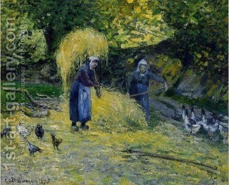 Peasants Carrying Straw, Montfoucault by Camille Pissarro - Reproduction Oil Painting