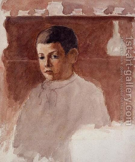 Half-Length Portrait of Lucien Pissarro by Camille Pissarro - Reproduction Oil Painting