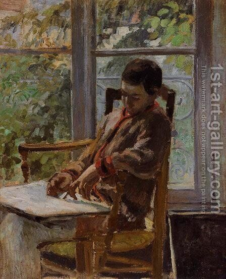 Lucien Pissarro in an Interior by Camille Pissarro - Reproduction Oil Painting