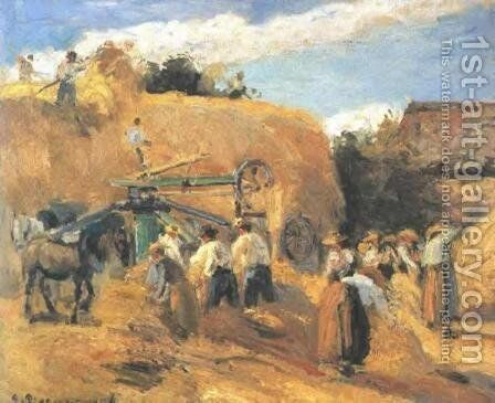 The Threshing Machine by Camille Pissarro - Reproduction Oil Painting