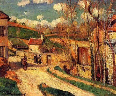 Crossroads at l'Hermitage, Pontoise by Camille Pissarro - Reproduction Oil Painting