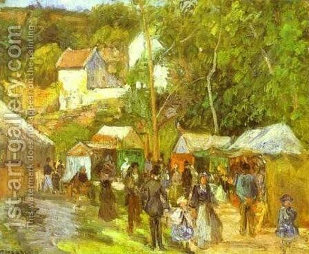 A Fair at l'Hermitage near Pontoise by Camille Pissarro - Reproduction Oil Painting