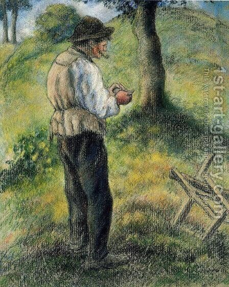 Pere Melon Lighting His Pipe by Camille Pissarro - Reproduction Oil Painting