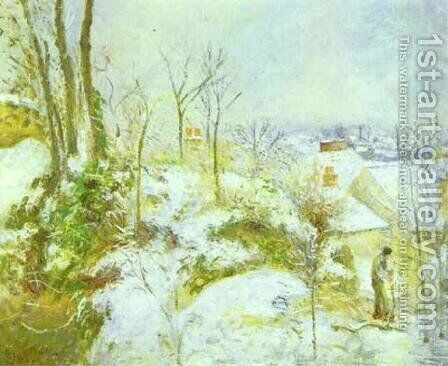 Cottage at Pontoise in the Snow by Camille Pissarro - Reproduction Oil Painting