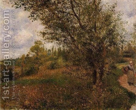 Pontoise Landscape, Through the Fields by Camille Pissarro - Reproduction Oil Painting
