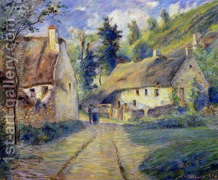 Cottages at Auvers, near Pontoise by Camille Pissarro - Reproduction Oil Painting