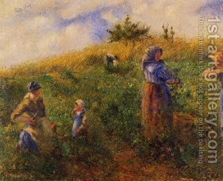 Picking Peas by Camille Pissarro - Reproduction Oil Painting
