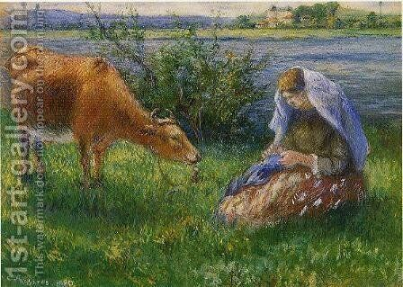 Cowherd, Pontoise I by Camille Pissarro - Reproduction Oil Painting