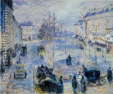 Boulevard de Clichy, Winter, Sunlight Effect by Camille Pissarro - Reproduction Oil Painting