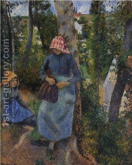 Two Young Peasants Chatting under the Trees by Camille Pissarro - Reproduction Oil Painting