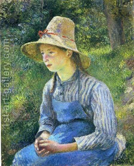 Young Peasant Girl Wearing a Hat by Camille Pissarro - Reproduction Oil Painting