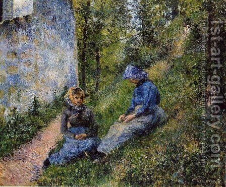 Seated Peasants, Sewing by Camille Pissarro - Reproduction Oil Painting