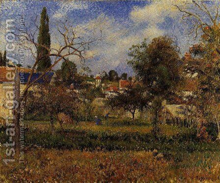 Kitchen Gardens, Pontoise by Camille Pissarro - Reproduction Oil Painting