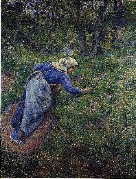 Peasant Gathering Grass by Camille Pissarro - Reproduction Oil Painting