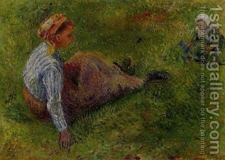 Peasant Sitting with Infant by Camille Pissarro - Reproduction Oil Painting