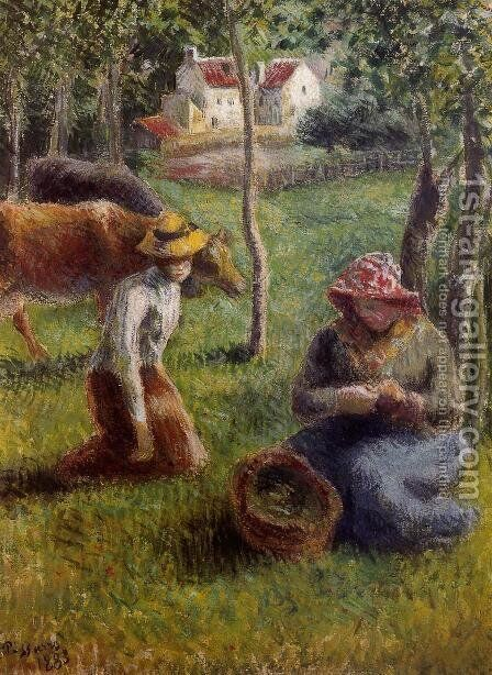 Cowherd by Camille Pissarro - Reproduction Oil Painting