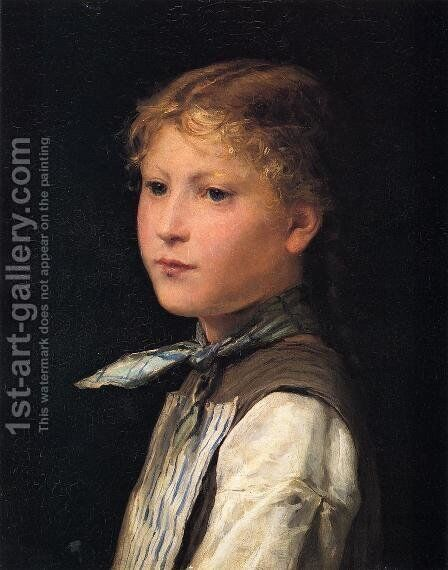Portrait of a Young Girl by Albert Anker - Reproduction Oil Painting
