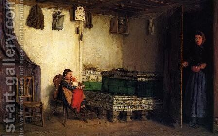 An Interior with Mother and Children by Albert Anker - Reproduction Oil Painting