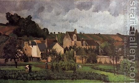 View of l'Heritage at Pontoise by Camille Pissarro - Reproduction Oil Painting
