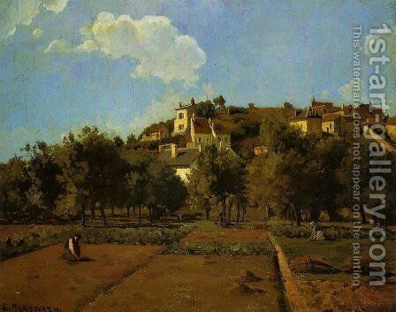 The Gardens of l'Hermitage, Pontoise by Camille Pissarro - Reproduction Oil Painting