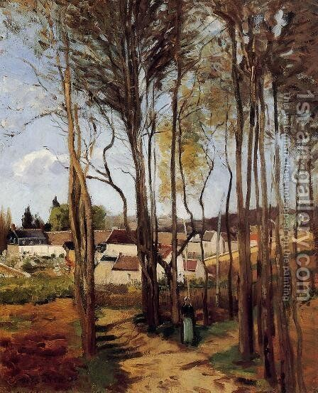 A Village through the Trees by Camille Pissarro - Reproduction Oil Painting