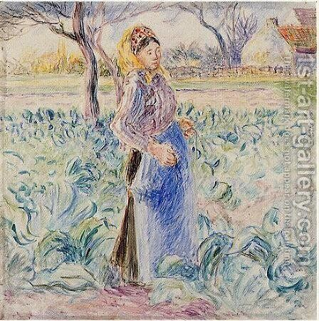 Peasant Woman in a Cabbage Patch by Camille Pissarro - Reproduction Oil Painting