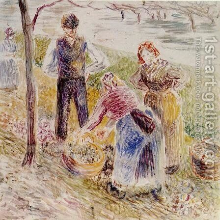 Harvesting Potatos by Camille Pissarro - Reproduction Oil Painting