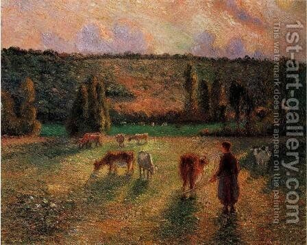 Cowherd at Eragny by Camille Pissarro - Reproduction Oil Painting