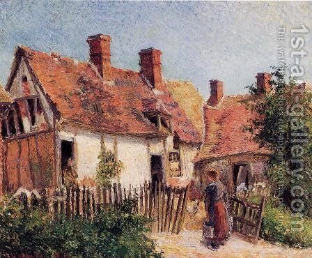 Old Houses at Eragny by Camille Pissarro - Reproduction Oil Painting