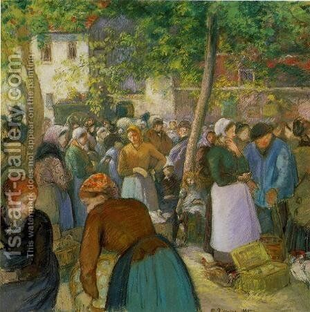 The Poultry Market by Camille Pissarro - Reproduction Oil Painting