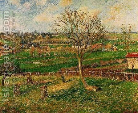 Landscape, Fields, Eragny by Camille Pissarro - Reproduction Oil Painting