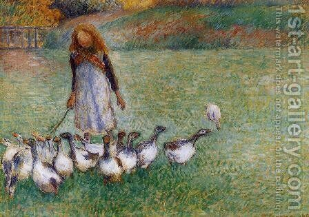 Little Goose Girl by Camille Pissarro - Reproduction Oil Painting