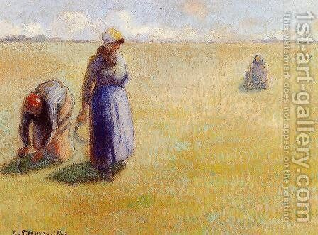 Three Women Cutting Grass by Camille Pissarro - Reproduction Oil Painting